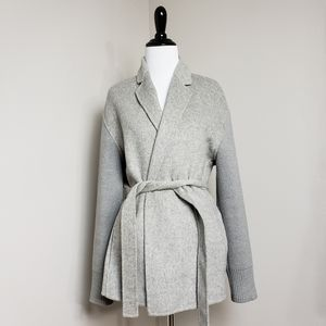 Vince Gray Wool Ribbed Sleeve Belted Easy Jacket